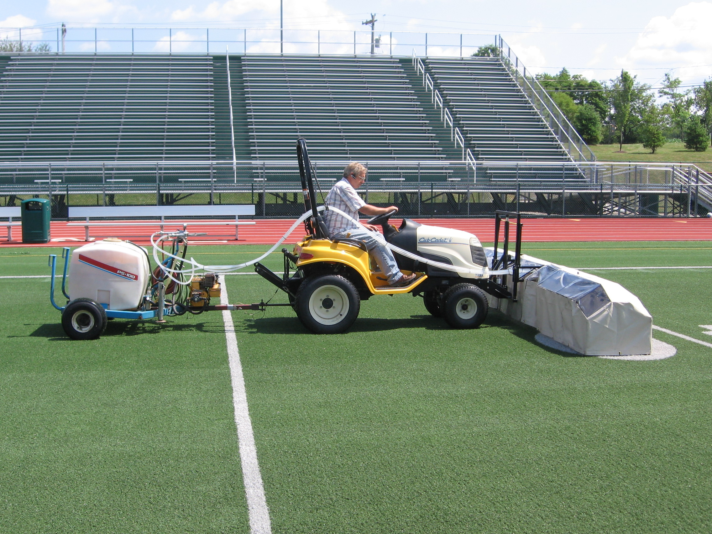 Our patent pending cleanser and disifnectant applicator is the best for turf.