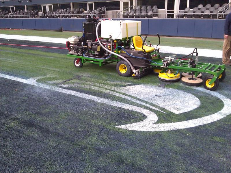 Paint removal from the Seahawks field.