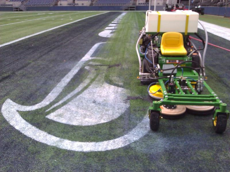 Paint Removal from Seattle Seahawks turf