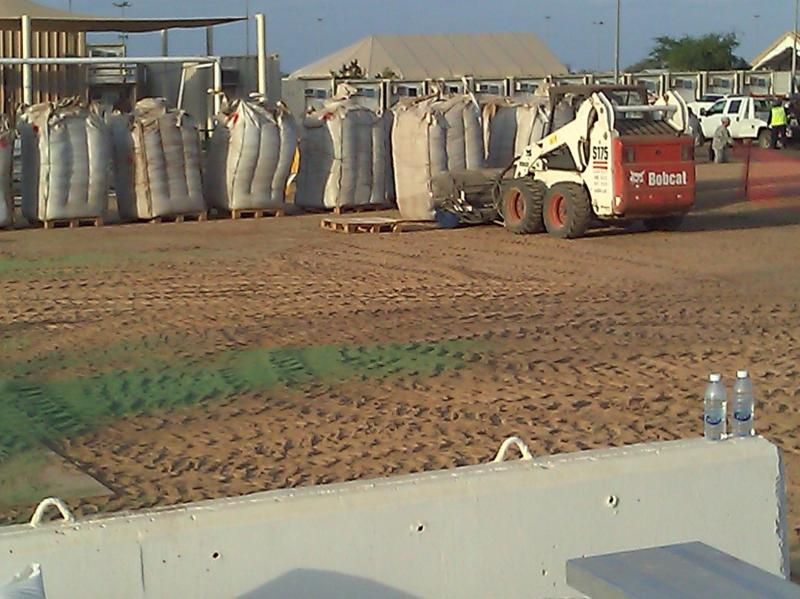Replacement infill for turf at Camp Lemonier Djibouti, Africa.